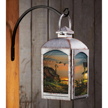 Special Memories Galvanized Gray Metal and Glass Candle Lantern by Terry Redlin