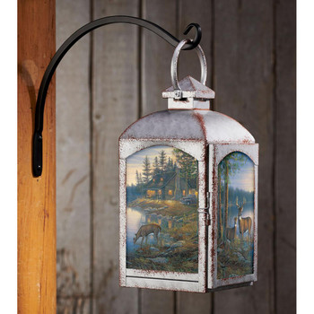 Quiet Places Deer Galvanized Gray Metal and Glass Candle Lantern by Sam Timm