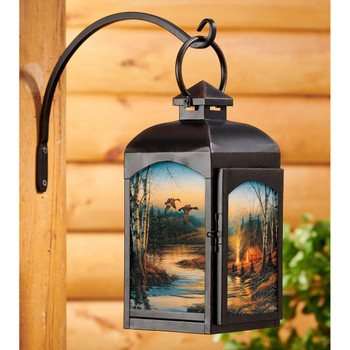 Twilight Glow Outdoor Scene Black Metal and Glass Candle Lantern by Terry Redlin