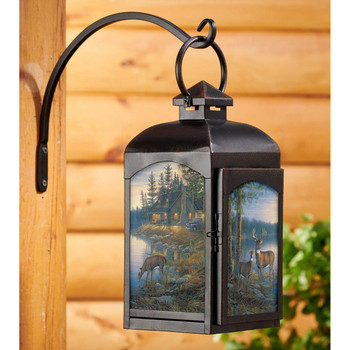 Quiet Places Deer Black Metal and Glass Candle Lantern by Sam Timm