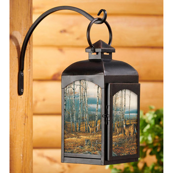 The Birch Line Whitetail Deer Black Metal and Glass Candle Lantern by Terry Redlin