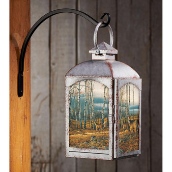 The Birch Line Whitetail Deer Galvanized Gray Metal and Glass Candle Lantern by Terry Redlin