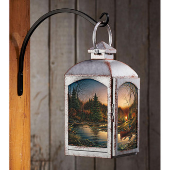 Morning Solitude Camping Scene Galvanized Gray Metal and Glass Candle Lantern by Terry Redlin