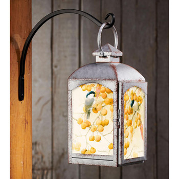 Chickadee Birds and Crabapples Galvanized Gray Metal and Glass Candle Lantern by Marjolein Bastin