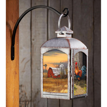 Rooster Bird and Barn Galvanized Gray Metal and Glass Candle Lantern by Rosemary Millette