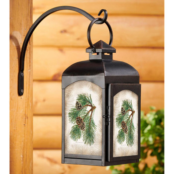 Fruit of the Red Pine Pinecones Black Metal and Glass Candle Lantern by Persis Clayton Weirs