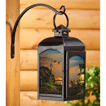 Special Memories Black Metal and Glass Candle Lantern by Terry Redlin