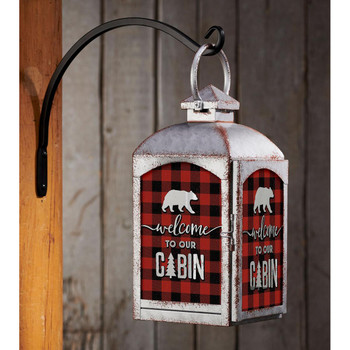 Plaid Welcome to Our Cabin Galvanized Gray Metal and Glass Candle Lantern