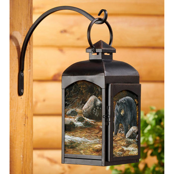Streamside Bear Black Metal and Glass Candle Lantern by Rosemary Millette