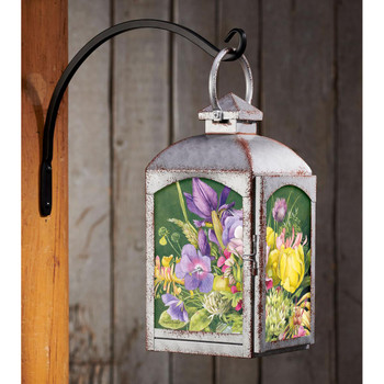 Spring Bouquet Flowers Galvanized Gray Metal and Glass Candle Lantern by Marjolein Bastin
