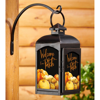 Welcome to the Patch Pumpkin Patch Black Metal and Glass Candle Lantern by Marjolein Bastin