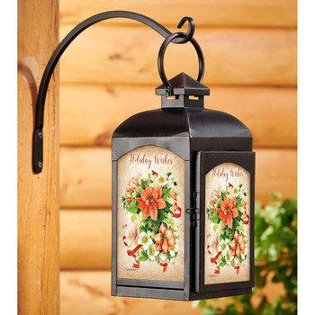 Holiday Wishes Poinsettia Flowers Black Metal and Glass Candle Lantern by Marjolein Bastin