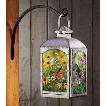 Butterflies and Flowers Galvanized Gray Metal and Glass Candle Lantern by Rosemary Millette