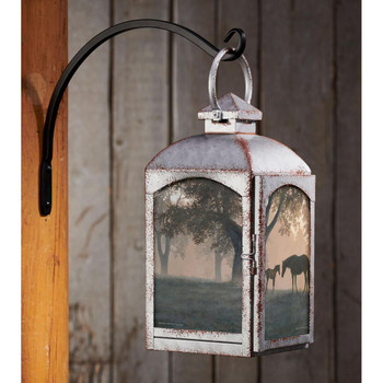 Dawn's First Light Horses Galvanized Gray Metal and Glass Candle Lantern by Persis Clayton Weirs