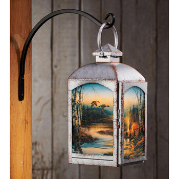 Twilight Glow Outdoor Scene Galvanized Gray Metal and Glass Candle Lantern by Terry Redlin