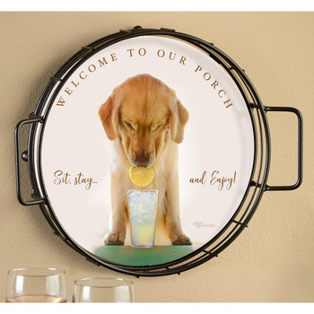Welcome to Our Porch Golden Retriever Puppy Metal and Wood Serving Trays, Set of 2