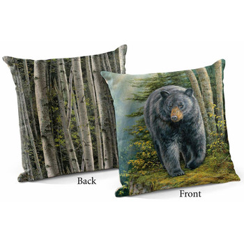 "18"" Rocky Outcrop Black Bear I Decorative Square Throw Pillows, Set of 4"