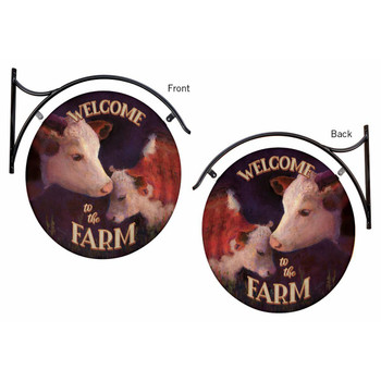 Welcome to the Farm Cows Double Sided Hanging Metal Sign