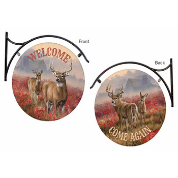 Welcome / Come Again Deer Double Sided Hanging Metal Sign