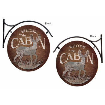 Welcome to the Cabin Deer Double Sided Hanging Metal Sign