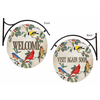 Welcome / Visit Again Soon Birds Double Sided Hanging Metal Sign