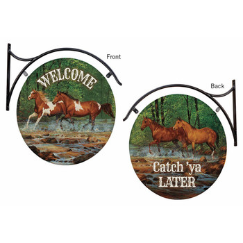 Welcome / Catch 'ya Later Horses Double Sided Hanging Metal Sign
