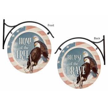 Home of the Free Because of the Brave Double Sided Hanging Metal Sign