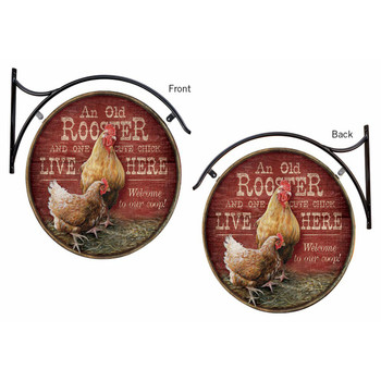 An Old Rooster and One Cute Chick Live Here Welcome to Our Coop Double Sided Hanging Metal Sign