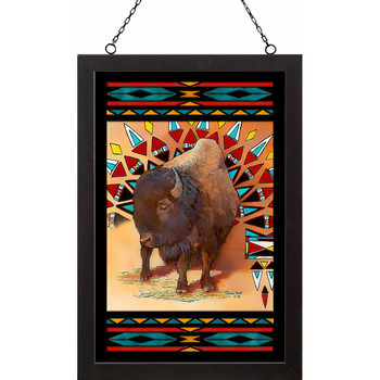Tanazin Bison Stained Glass Wall Art