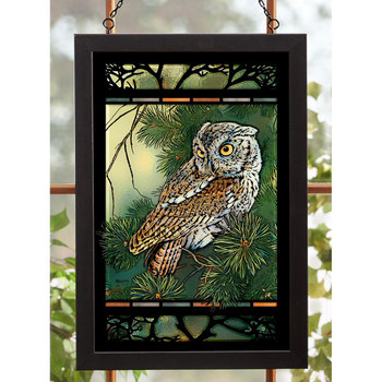 Screech Owl Bird Stained Glass Wall Art