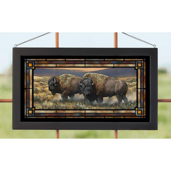 Dusty Plains Bison Stained Glass Wall Art