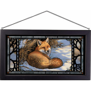 Restful Moment Fox Stained Glass Wall Art