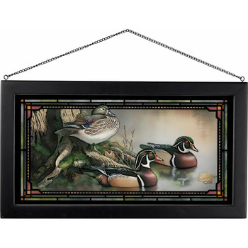 Backwater Wood Ducks Stained Glass Wall Art