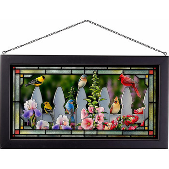 Picket Fence Songbirds Stained Glass Wall Art