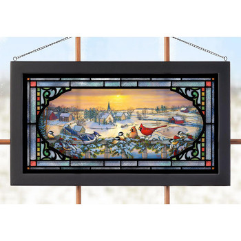 Winter Porch Chatter Birds Stained Glass Wall Art