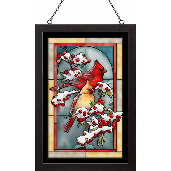 Winter Jewels Cardinal Birds Stained Glass Wall Art
