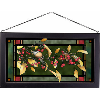 Red and Gold Autumn Nuthatch Stained Glass Wall Art
