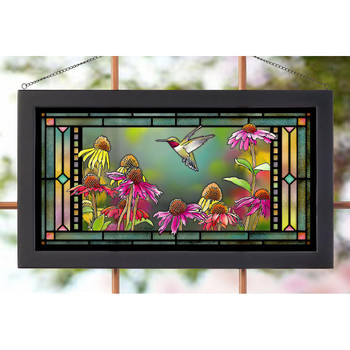 Ruby Hummingbird in Echinacea Stained Glass Wall Art