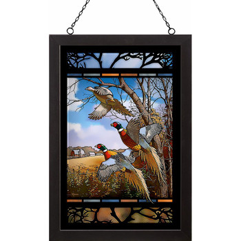 October Memories Pheasant Birds Stained Glass Wall Art