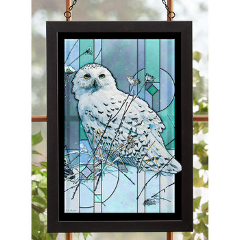 On the North Wind Snowy Owl Bird Stained Glass Wall Art