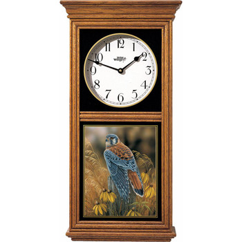 Fencepost Perch Kestrel Bird Medium Oak Wood Regulator Wall Clock