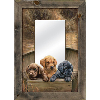All Hands on Deck Lab Puppies Wall Mirror with Wood Frame