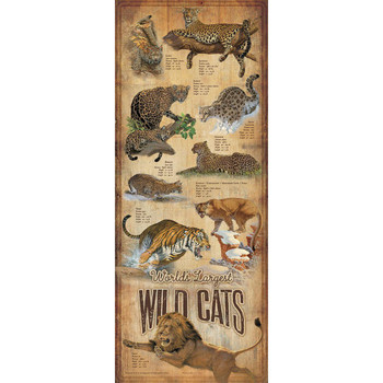 World's Largest Wild Cats ID Chart Wood Sign