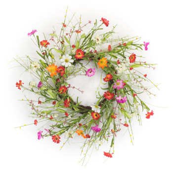 "22"" Mixed Floral Silk Wreath"