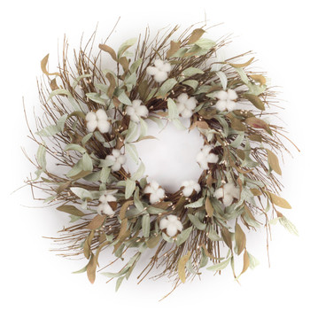 "28"" Cotton and Leaf Foliage Artificial Wreath"