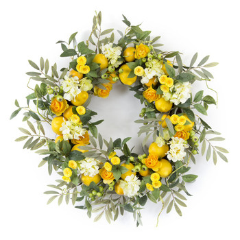 "28"" Lemon and Floral Artificial Wreath"
