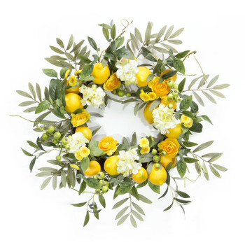 "22"" Lemon and Floral Artificial Wreath"