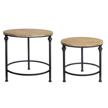 Santa Fe Metal and Wood Tables, Set of 2