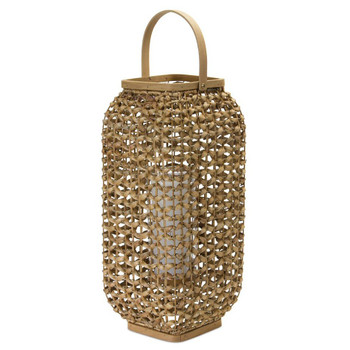 "20""H Wicker and Glass Candle Lantern Candle Holder"