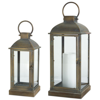Crackle Metal and Glass Candle Lanterns Candle Holders, Set of 2